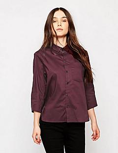 Vår / Höst Enfärgad Långärmad Ledigt/vardag Skjorta,Streetchic Kvinnors Tröjkrage Polyester Medium Röd / Svart