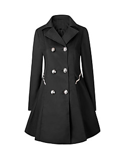 Women's Plus Size Work Vintage Simple Trench Coat,Solid Peaked Lapel Long Sleeve