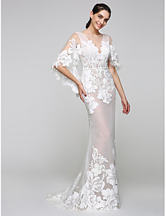 LAN TING BRIDE Trumpet / Mermaid Wedding Dress - Glamorous & Dramatic See-Through Sweep / Brush Train Bateau Tulle with Appliques