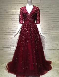 Formal Evening Dress A-line V-neck Sweep / Brush Train Tulle with Appliques / Beading / Sash / Ribbon / Sequins