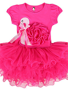 Kid Swan Print Summer Flower Accessory Causal Dress with Mesh Ruffle Skirt Ball Gown for 2~7 Years Baby Girls