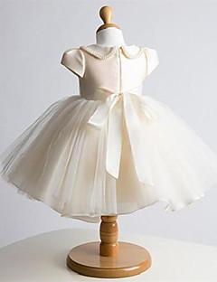 Plesové šaty Krátký / Mini Šaty pro květinovou družičku - Tyl Krátký rukáv Klenot s Mašle / Perličky