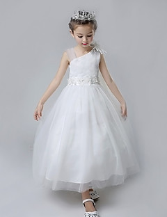 Ball Gown Tea-length Flower Girl Dress - Cotton / Satin / Tulle Sleeveless Straps with Flower(s) / Ruffles