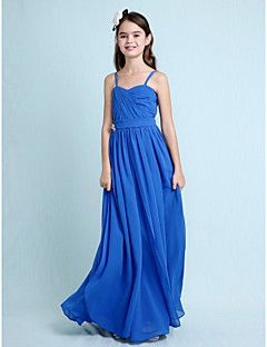 Lanting Bride® Floor-length Chiffon Junior Bridesmaid Dress Sheath / Column Spaghetti Straps with Crystal Detailing / Criss Cross
