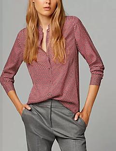 Dámské Tisk Běžné/Denní Vintage Košile-Všechna období Polyester Stojáček Dlouhý rukáv Červená Střední