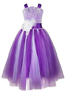 Ball Gown Tea-length Flower Girl Dress - Lace / Tulle Sleeveless Straps with Beading / Flower(s) / Sash / Ribbon