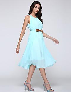 Ženski Haljina Posao / Boho Plus veličine / Šifon Jednobojni , Mini Okrugli izrez Poliester