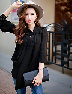 DABUWAWA Women's Casual / Work / Vintage / Simple Blouse,Solid Stand Long Sleeve