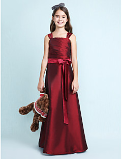 Lanting Bride® Floor-length Taffeta Junior Bridesmaid Dress A-line / Princess Straps Natural with Bow(s) / Sash / Ribbon / Ruching