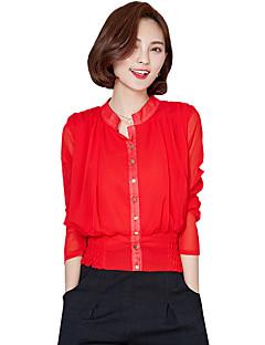 Langærmet Høj krave Medium Kvinders Rød / Sort Ensfarvet Sommer / Efterår Street I-byen-tøj / Casual/hverdag Bluse,Polyester