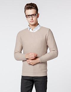 Men's Solid Casual / Work Cardigan,Wool Long Sleeve Black / Blue / Brown / Gray