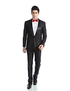 Tuxedos Tailored Fit Shawl Collar Single Breasted One-button Viscose/ Wool & Polyester Blended Solid 2 Pieces