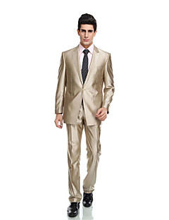 Tuxedos Tailored Fit Peak Single Breasted Two-buttons Wool & Polyester Blended Solid 2 Pieces Champagne