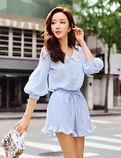 dabuwawa kvinners solide chinos / brede ben bukser, søt / street chic / sofistikert
