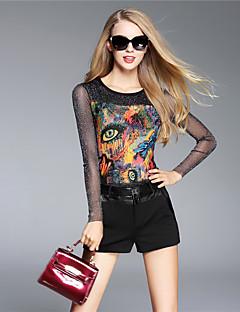 BOMOVO® נשים צווארון עגול שרוולים ארוכים חולצה קצרה לדעוך שחור-B16QA31