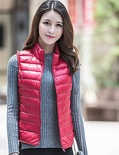 Women's Regular Down CoatSimple Casual/Daily Solid-Polyester Cotton Sleeveless StandPink / Red