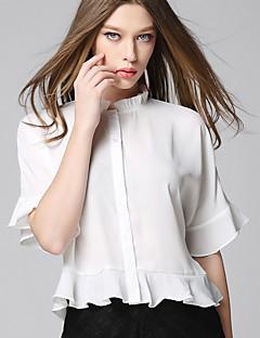 AJIDUO® Damen Ständer 1/2 Länge Ärmel T-Shirt Beige-A6916