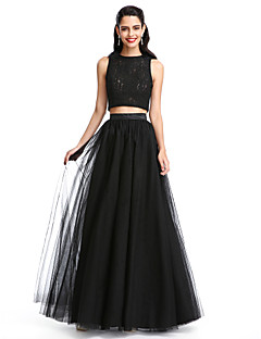 TS Couture Prom Formal Evening Dress - Two Pieces A-line Jewel Floor-length Lace Tulle with Pleats