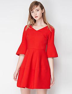 Damen A-Linie Kleid-Ausgehen Einfach Solide V-Ausschnitt Übers Knie ½ Länge Ärmel Rot / Grün Polyester Herbst Hohe Hüfthöhe Unelastisch