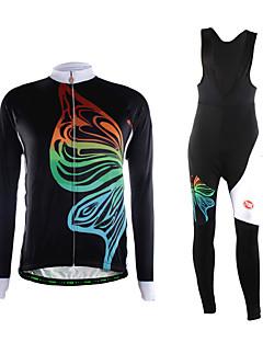 TVSSS חולצת ג'רסי וטייץ ביב לרכיבה לגברים שרוול ארוך אופניים נושם שמור על חום הגוף לביש 3D לוח בד קל מאוד נוח מדים בסטיםפוליאסטר גיזות