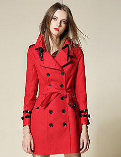 Burdully Women's Work Simple Trench CoatSolid Peaked Lapel Long Sleeve Winter Red / Beige / Black Cotton Medium