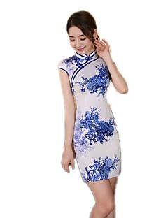 N/A 한 조각 짧은 소매 중간 길이 블루 로리타 드레스 폴리에스터