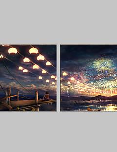 E-Home® gestreckt geführt Leinwanddruck Kunstfeuerwerk Flash-Effekt führte blinkenden Lichtwellenleiter Drucksatz von 2