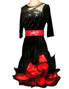 ריקוד לטיני שמלות בגדי ריקוד נשים ביצועים אימון Chinlon קטיפה קריסטלים / rhinestones Ruched 2 חלקים חצי שרוול חגורת מותניים שמלותS-XXL:85