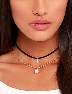 Damen Halsketten Tattoo-Hals Kreisform Perle Stoff DiamantimitateBasis Tattoo Stil Simple Style Europäisch Modisch individualisiert