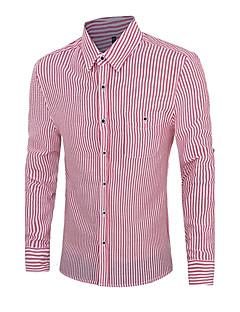 Men's Striped Work / Formal Shirt,Cotton Long Sleeve Blue / Green / Red / Gray