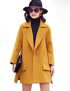 Women's Going out Street chic CoatSolid Notch Lapel Long Sleeve Fall / Winter Blue / Yellow Wool / Polyester Thick