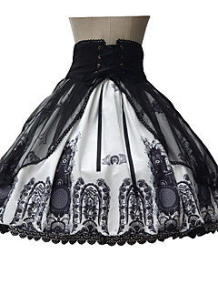 Skirt Sweet Lolita Lolita Cosplay Lolita Dress Black Print Sleeveless Medium Length Dress For Terylene
