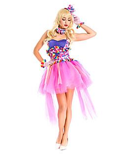 Cosplay Kostýmy / Kostým na Večírek Burlesque/Klaun Festival/Svátek Halloweenské kostýmy Růžová Tisk Šaty / Více doplňků Halloween Dámské