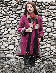 Damen Gefüttert Mantel,Lang Boho Ausgehen Verziert-Baumwolle Baumwolle Langarm Lila V-Ausschnitt