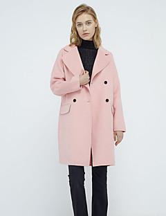 Munka Egyszerű Téli-Női Kabát,Egyszínű Spicc gallér Hosszú ujj Rózsaszín / Barna / Szürke Gyapjú / Poliészter Vastag