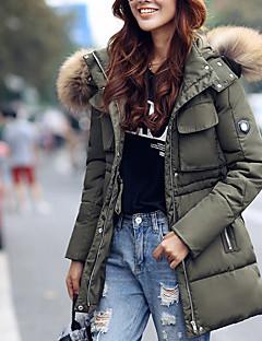 Women's Solid Blue / Red / Black / Brown / Green Down Coat,Vintage Hooded Long Sleeve