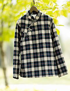 Camicia Da donna Casual Semplice Autunno / Inverno,A quadri Colletto alla coreana Cotone Blu Manica lunga Medio spessore