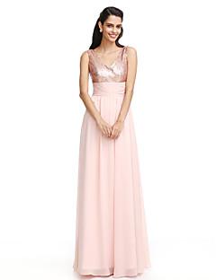 2017 Lanting bride® brudtärna klänning - mantel / kolumn V-ringad golv längd chiffong / sequined med ruching
