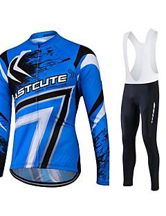 חולצת ג'רסי לרכיבה לגברים יוניסקס שרוול ארוך אופנייםנושם שמור על חום הגוף ייבוש מהיר עמיד בטנת פליז חדירות ללחות לביש דחיסה 3D לוח כיס