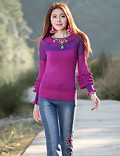 Our Story Going out Simple Regular PulloverColor Block Purple Round Neck Long Sleeve Wool / Acrylic Spring