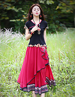Our Story Embroidered Red SkirtsVintage Maxi