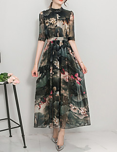 Women's Going out Vintage Swing Dress,Print Stand Maxi ¾ Sleeve Multi-color Polyester Summer