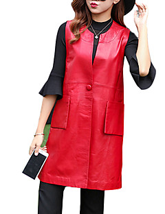 Women's Casual Leather Jackets A Sleeveless Waistcoat Solid Round Neck Sleeveless 6608