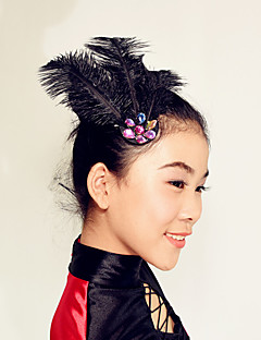MiDee Performance Modern Dance Headpieces Women's / Performance Feathers Crystals / Feathers /Fur 1 Piece Black