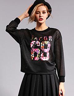 Damen Pullover Ausgehen Einfach Buchstabe Gitter Rundhalsausschnitt Mikro-elastisch Polyester Langarm Frühling