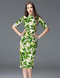 Damen Hülle Kleid-Formal Anspruchsvoll Blumen Bateau Knielang ½ Länge Ärmel Grün Baumwolle / Polyester Frühling Mittlere Hüfthöhe