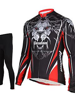 TASDAN® Calça com Camisa para Ciclismo Homens Manga Comprida MotoRespirável / Secagem Rápida / Zíper Frontal / Compressão / Tapete 3D /