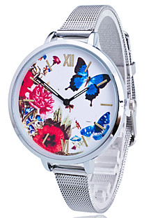 Ladies'/Women's Fashion Watch Silver Steel Thin Band Large Dail Butterfly Flowers White Round Case Analog Quartz Casual Wrist Watch