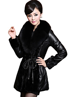 Women's Plus Size / Casual/Daily Street chic Fur Coat,Solid V Neck Long Sleeve Winter Black Faux Fur / PU Thick