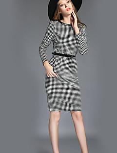 Dámské Sofistikované Běžné/Denní Pouzdro Šaty Pepito,Dlouhý rukáv Kulatý Délka ke kolenům Černá Polyester Podzim Mid Rise Neelastické